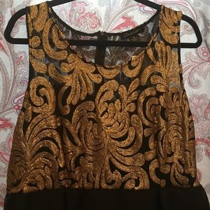High low, Gold & Black shimmery ,sleeveless dress